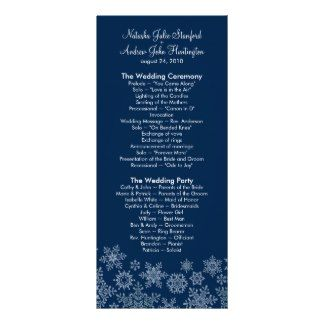 Winter Snowflakes Wedding Program Photo Keepsake Full Color Rack Card
