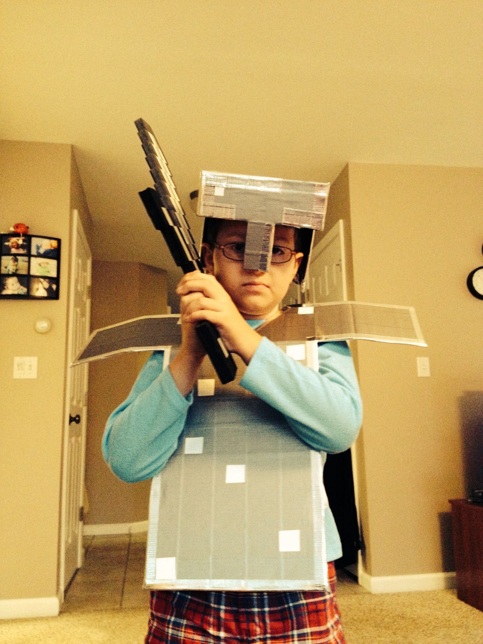 Cardboard and duct tape Minecraft iron armor for my son's ...
