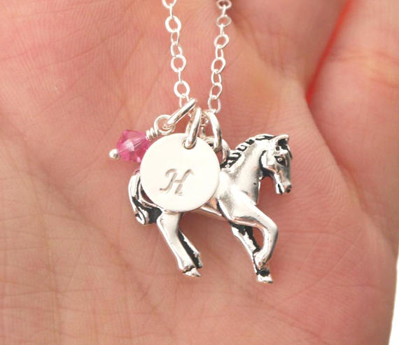 Personalized Horse Necklace, Horse Initial Necklace, Personalized Horse Jewelry, Initial Birthstone, Horse Pearl Necklace, Gifts Horse Lover