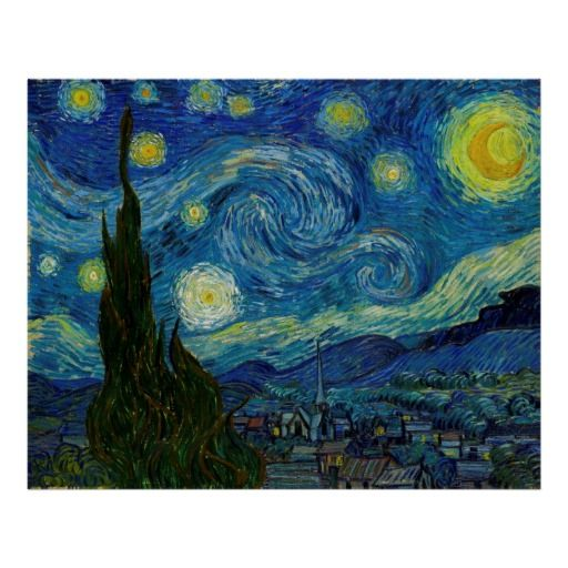 """Fine art poster of """"The Starry Night"""", the famous painting by Vincent van Gogh. The original was painted with oil on canvas in 1889.  Click image to buy this poster!  #poster #art #starry #night #gogh"""