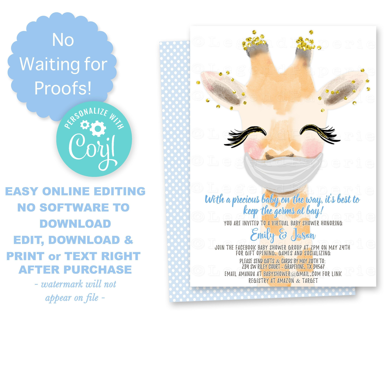 Boy Drive By Baby Shower Invitationsfacebook Baby Shower Etsy Virtual Baby Shower Baby Shower Invitations For Boys Virtual Baby Shower Invitation
