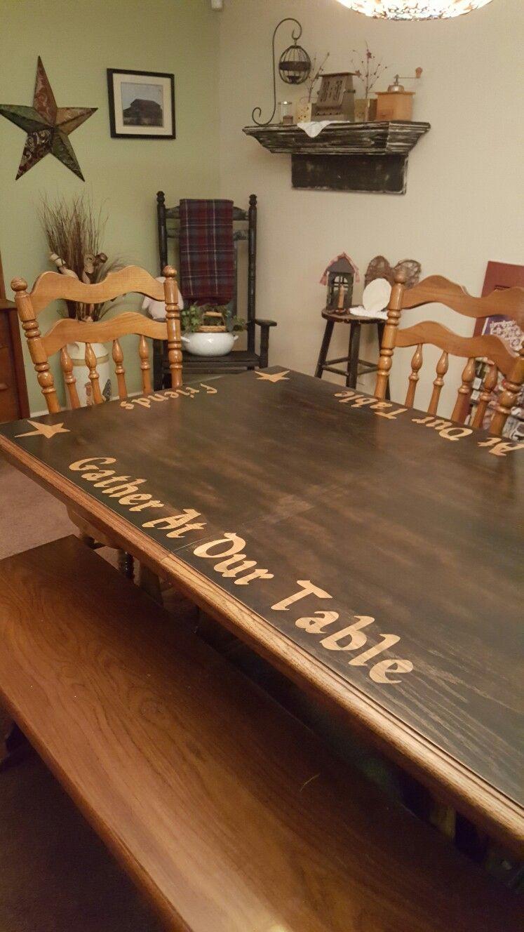 Oak Table Turned Primitive
