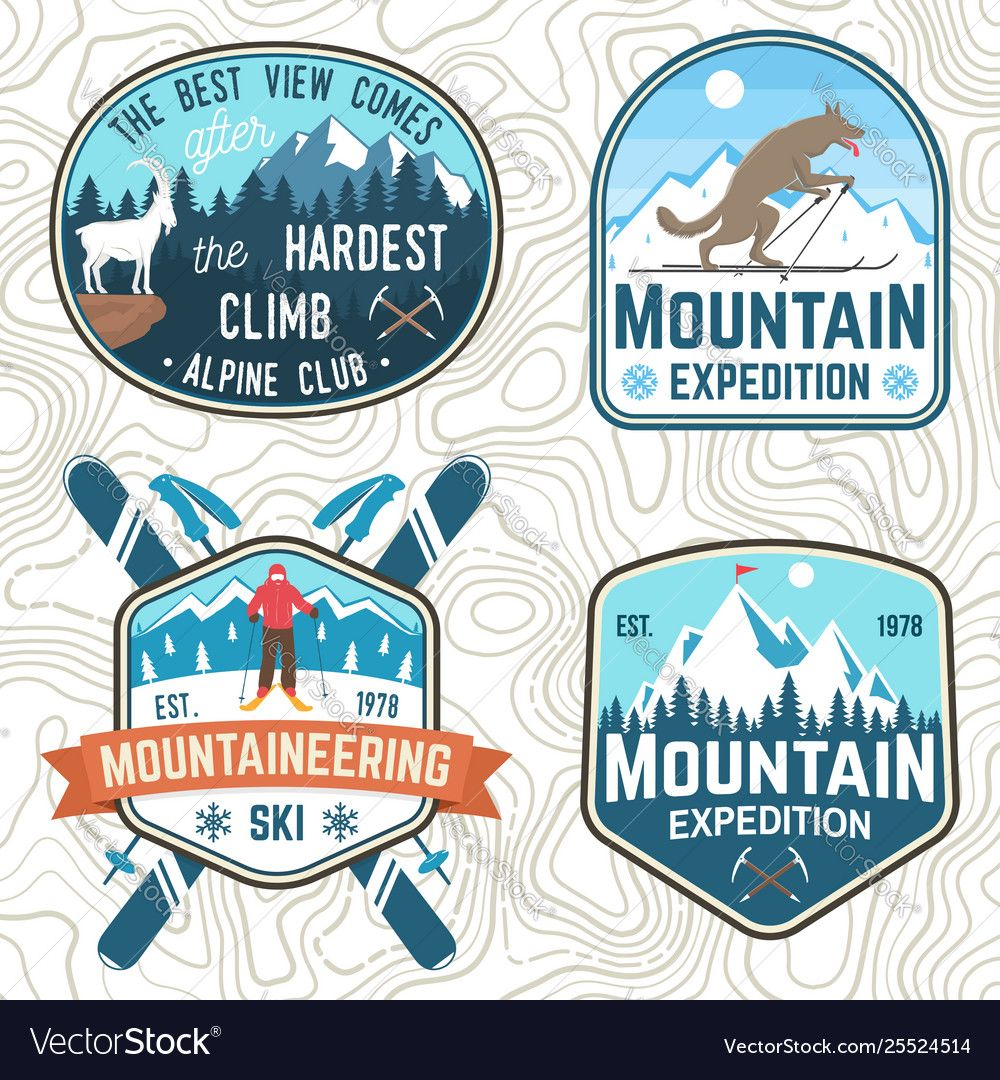 Set Mountain Expedition And Snowboard Club Vector Image Aff Expedition Mountain Set Vintage Typography Design Vintage Typography Mountain Silhouette