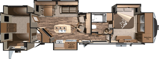 fifth wheel campers with bunkhouse and outdoor kitchen ikea faucets open range 3x 427bhs 42 rear 5th outside sleeps 8