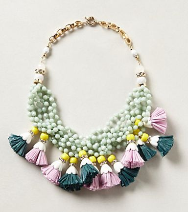 The colorful, fringy, multi-colored piece somehow manages to add a whole lot of punch to any outfit—without being too over-the-top. The fabric tassels are soft enough to ensure the necklace doesn't come across as harsh, and the color combo recalls a breezy day on the beach somewhere in the Hawaiian Islands.