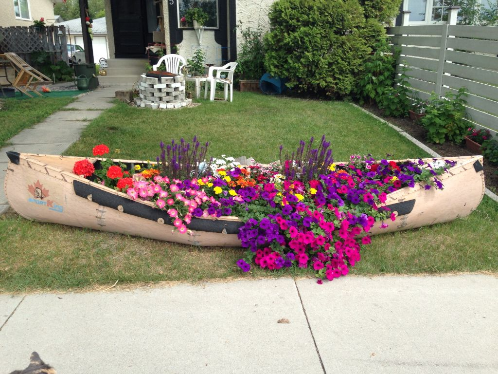 My Flower Bed Canoe Middle Of Summer Flower Planters Planting Flowers Container Gardening Flowers