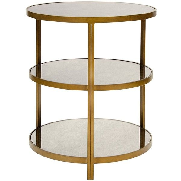 Worlds Away Audrey 3 Tier Side Table 1 245 Liked On Polyvore Featuring Home Furniture Tables Accent T Side Table Bronze Side Table Mirrored Side Tables