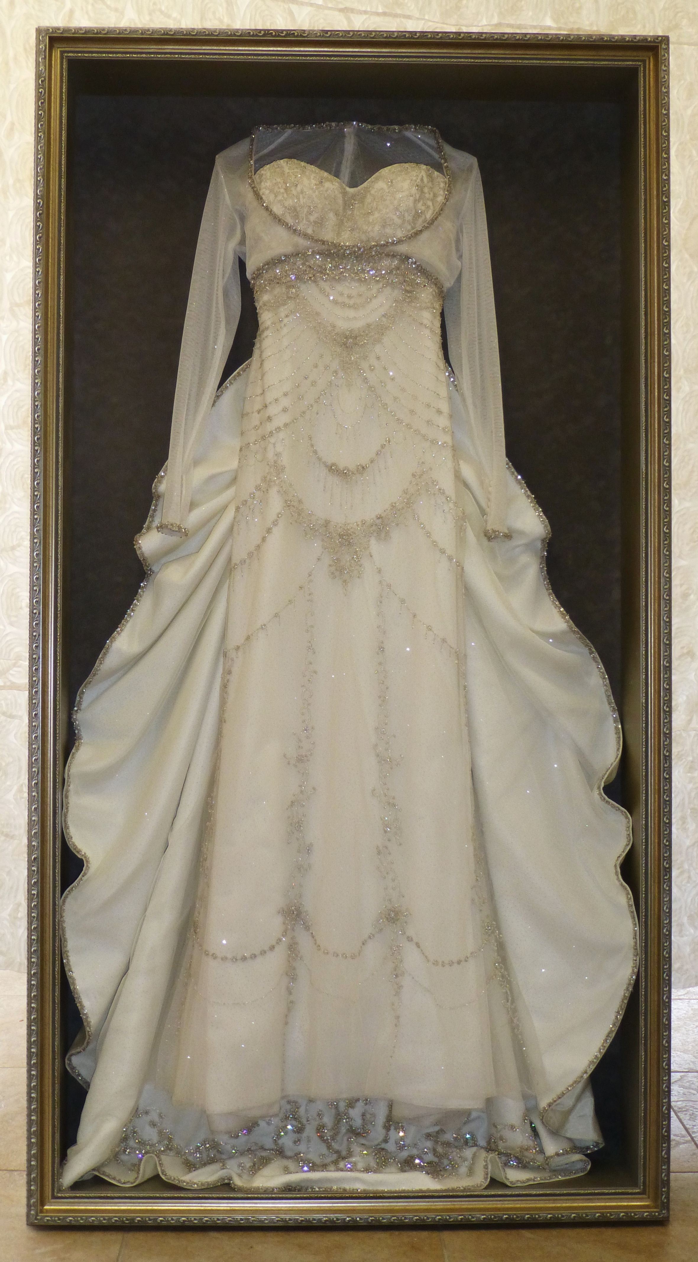 framed wedding dress by Floral Keepsakes displayed in one of our ...