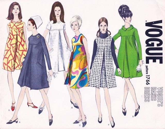 Mod 60s Baby Doll Dress Pattern Vogue Basic Design 1766 Front Inverted Pleat Day To Evening Al Vogue Dress Patterns Tent Dresses Pattern Vintage Vogue Patterns