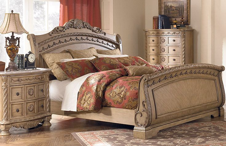 Full Set Bedroom With Unique Carving Wood Furniture Ashley Bedroom Furniture Sets Ashley Furniture Bedroom Bedroom Set Ashley furniture gold bedroom set