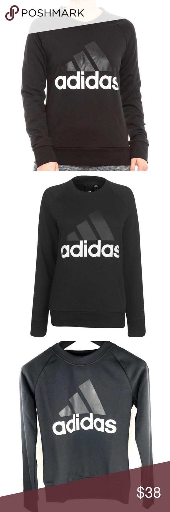 Adidas Womens Crew Neck Sweatshirt Black Crewneck Sweatshirt Women Adidas Women Black Sweatshirts [ 1740 x 580 Pixel ]