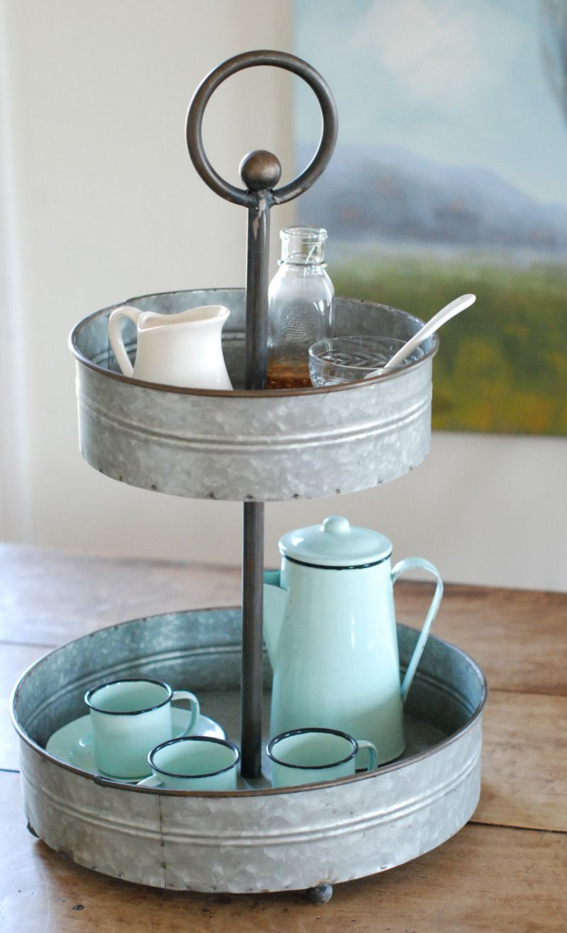 Galvanized TwoTiered Tray farmhouse wares items