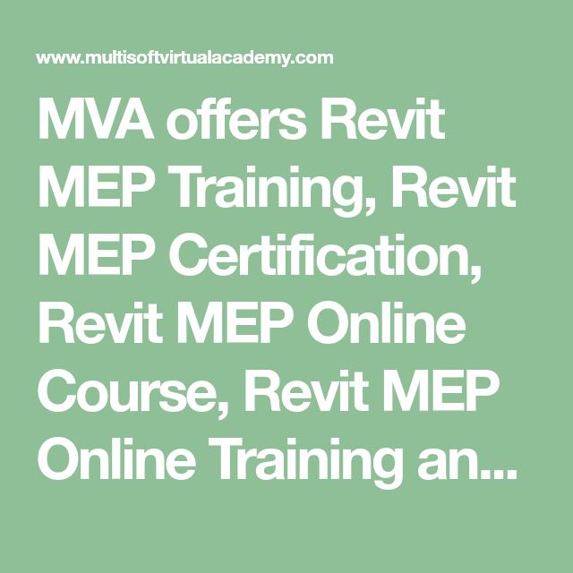 Mva Offers Revit Mep Training Revit Mep Certification Revit Mep