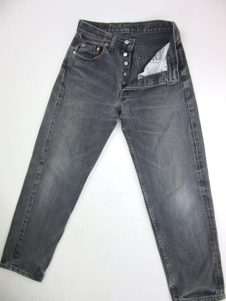 Levis 518 faded black denim jean loose leg fit button fly
