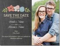 Chalkboard Floral Invitations Announcements Wedding Postcard Wedding Saving Wedding Save The Dates