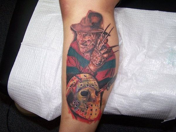 Colored Freddy Krueger Tattoo with Jason Voorhees Mask