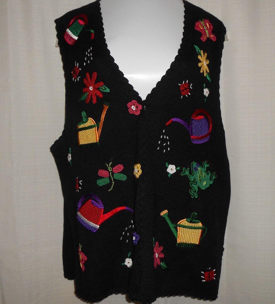 MANDAL BAY Sweater Vest Sz XL XLarge Women Gardening Flower ...