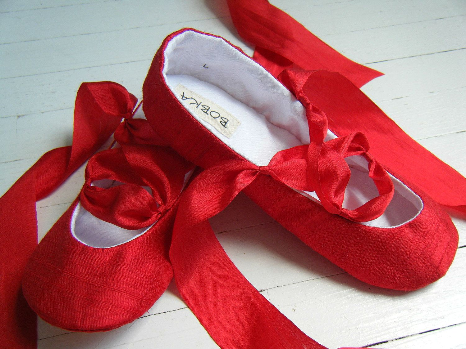 Classic Ballet Shoes, Red Silk Flats, Baby Ballet Shoes, Toddler ...
