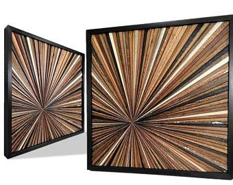 Reclaimed Wood Starburst Wall Art Sculpture Abstract Rustic Modern  Transistional Decorative Textured Infinity Point Unique OOAK