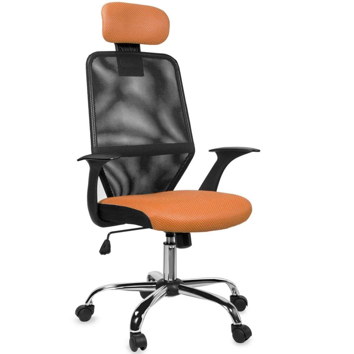 Barton mesh office desk chair w headrest orange