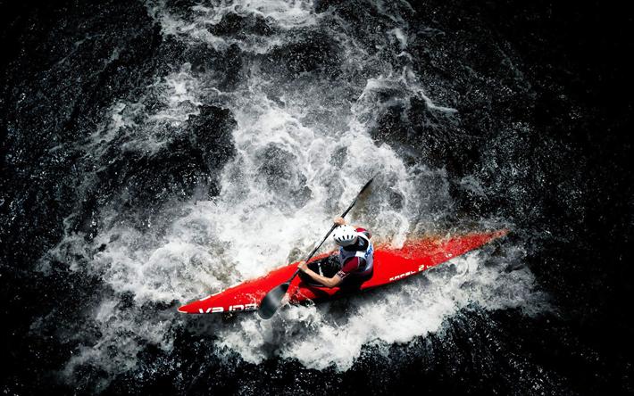 Scarica sfondi rafting, 4k, kayak, rocce, estremo, travi a vista