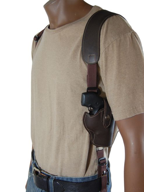 New Brown Leather Vertical Cross Harness Concealt Gun Shoulder ...