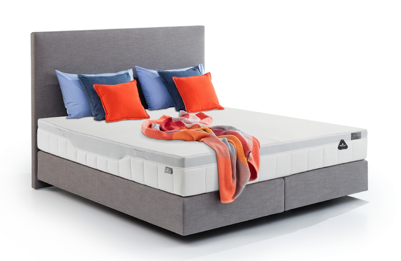 Bed excellence en hoofdbord line soft in stof nature grey met