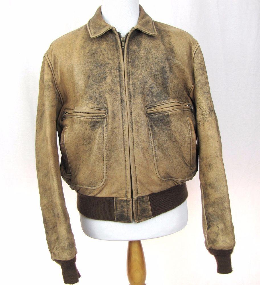 Schott Nyc Jacket 46 Xl Bomber Genuine Leather Full Zip Distressed