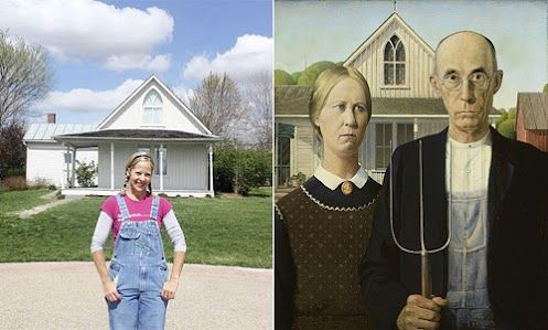 """Beth Howard stumbled onto the Iowa farmhouse depicted in Grant Wood's 1930 painting """"American Gothic"""" on a road trip.  She pays $ 250-a-month rent, and a clause in her lease requires her to be nice to the thousands of people a year who come to pose for photos in her front yard."""