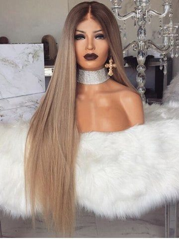 Middle Part Long Straight Ombre Party Synthetic Wig