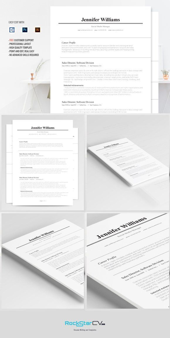 Traditional Resume Template By RockStar Design On Creativemarket