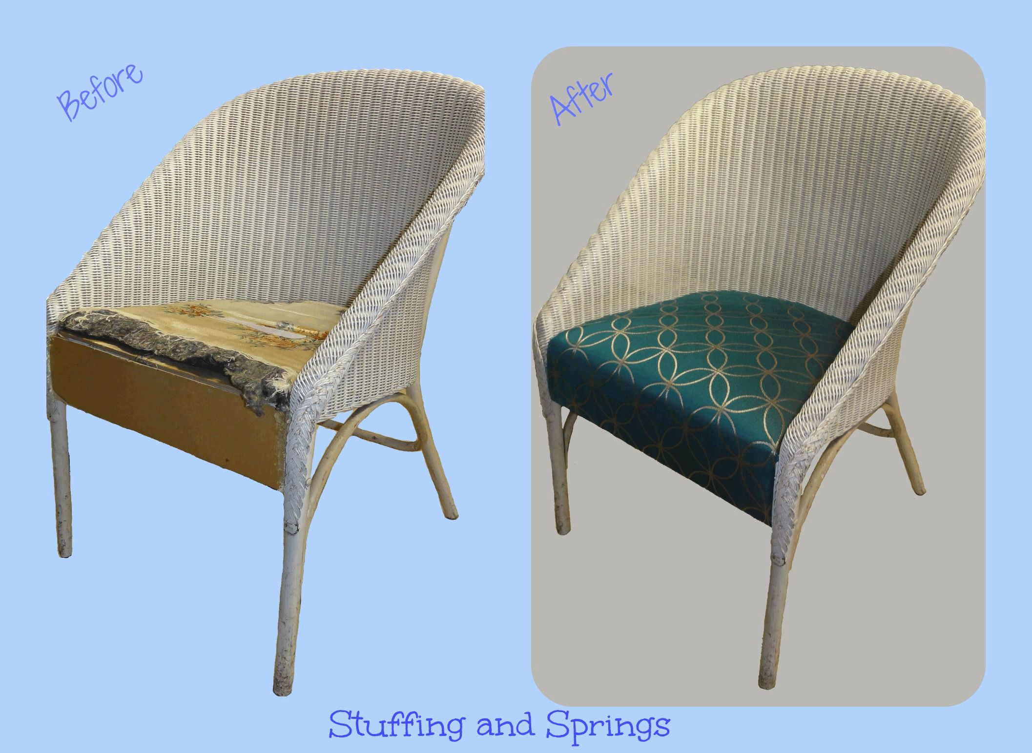 Lloyd Loom Style Chair Reupholstered U0026 Recovered Re Upholstered Furniture  By Stuffing And Springs (