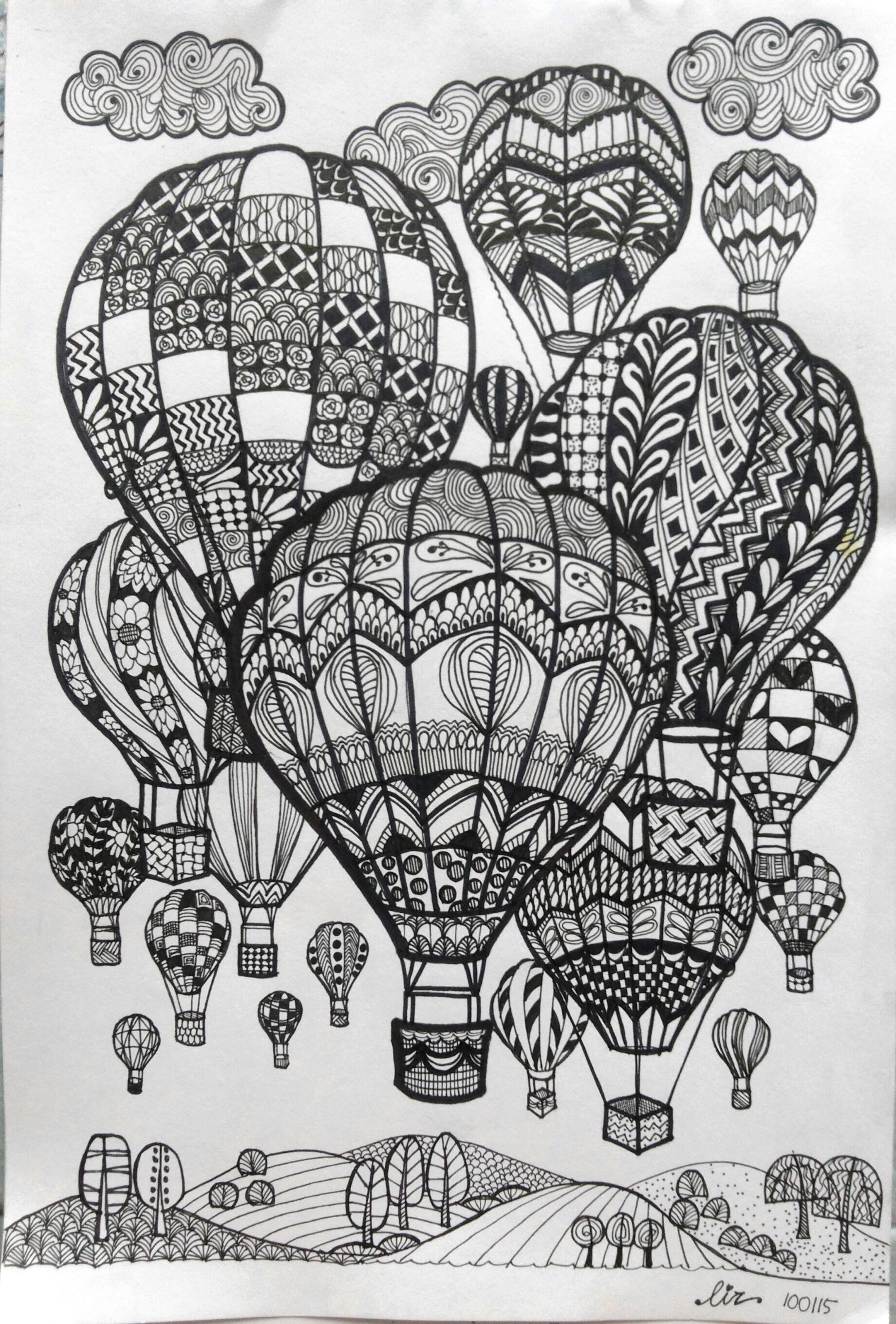 hot air balloons doodle art doodle and zentangle