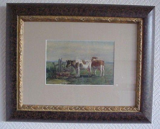 Bertus van Reeven: Koetjes in het weiland. Aquarel gemaakt rond zijn 16e.