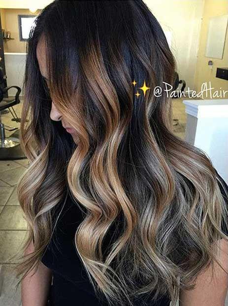 47 Stunning Blonde Highlights For Dark Hair Stayglam Dark Hair With Highlights Caramel Highlights On Dark Hair Blonde Highlights