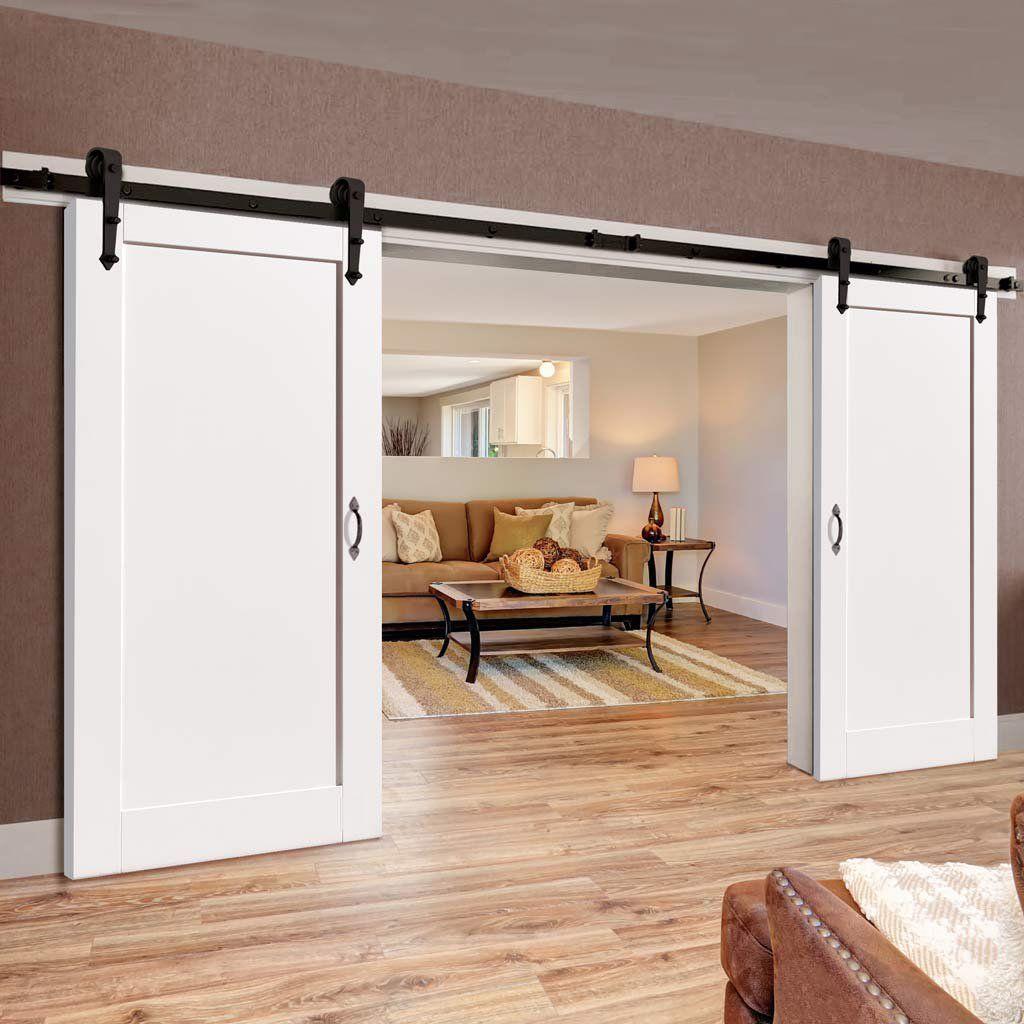 Double Sliding Door Track Antigua White Doors Barn Style Sliding Doors Double Sliding Doors White Paneling