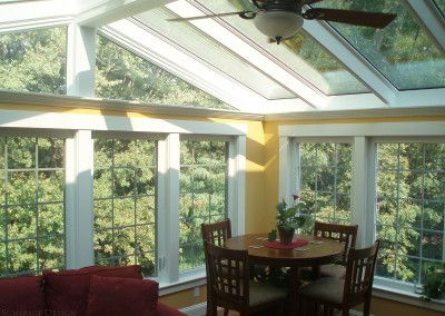 Adding a little light to the dining and seating area with a unique gable style skylight.