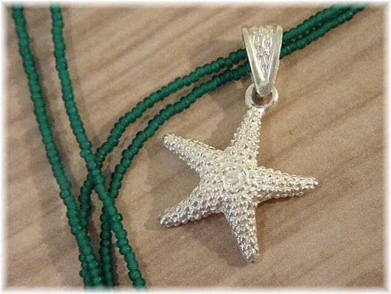A Day At The Beach ~ Sterling Silver STARFISH Pendant ~ Caribbean Teal SEA GLASS Bead Sterling Necklace