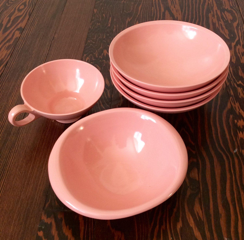 1950\u0027s Melmac Retro Bubblegum Pink Boontonware Dishes Pink Melamine Dish Set 1950\u0027s Dishes & 1950\u0027s Melmac Retro Bubblegum Pink Boontonware Dishes Pink Melamine ...