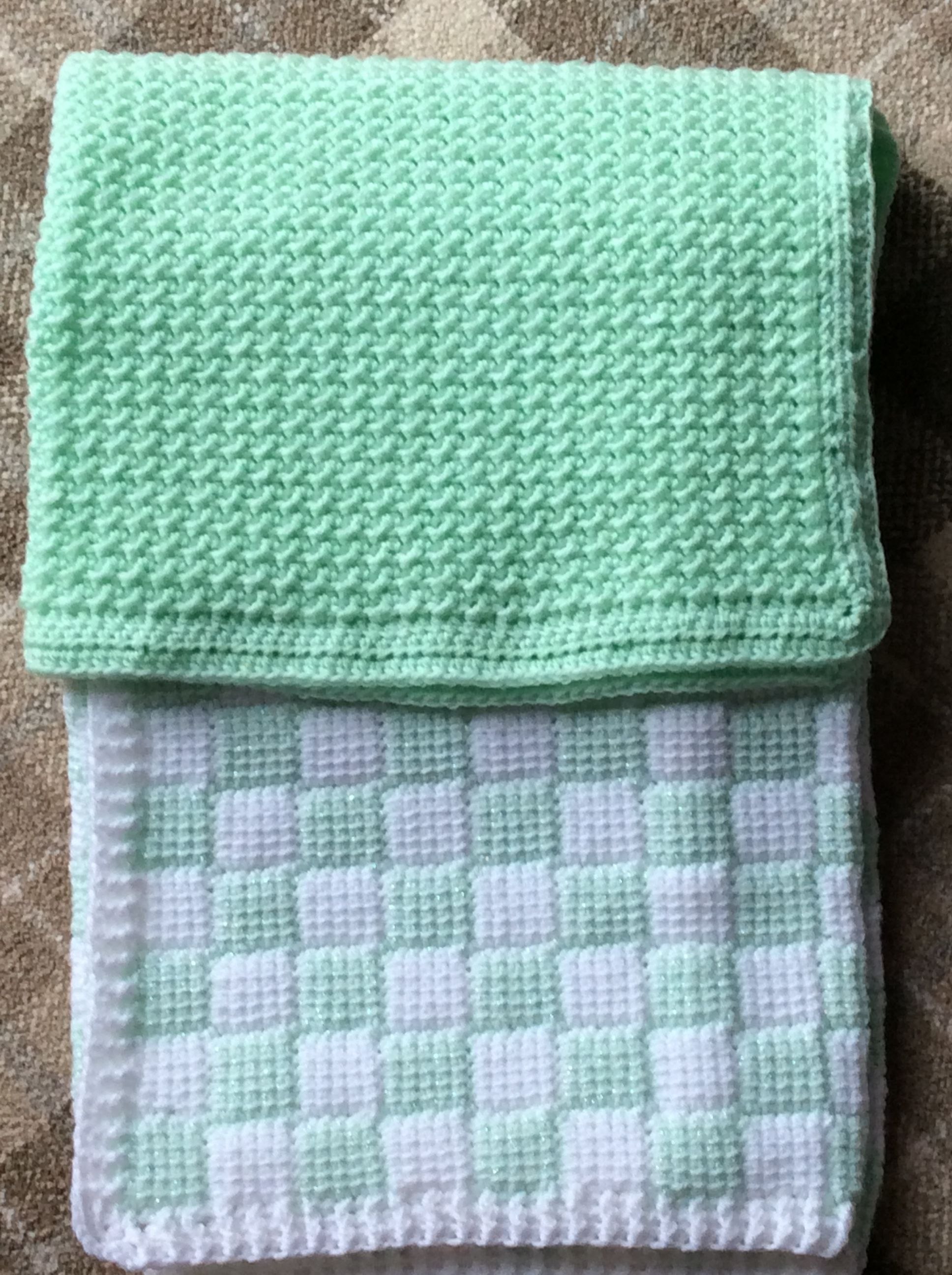 Blue and white - corner to corner entrelac Green crochet moss stitch ...