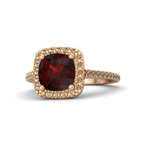 Cushion Red Garnet 14K Rose Gold Ring With Smoky Quartz