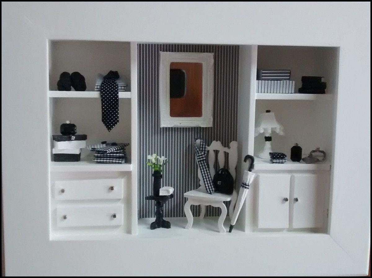 6c4d1b447665 Maravilhoso quadro cenário para LOJA MASCULINA, confec <br>cionado em mdf,  pintura branca, modelo CLOSET, com mi <br>niaturas em mdf, miniaturas em  resina, ...