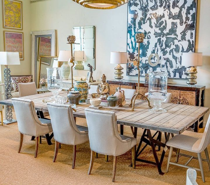 Like This Dining Room Set Up With Big Art Above Console For The
