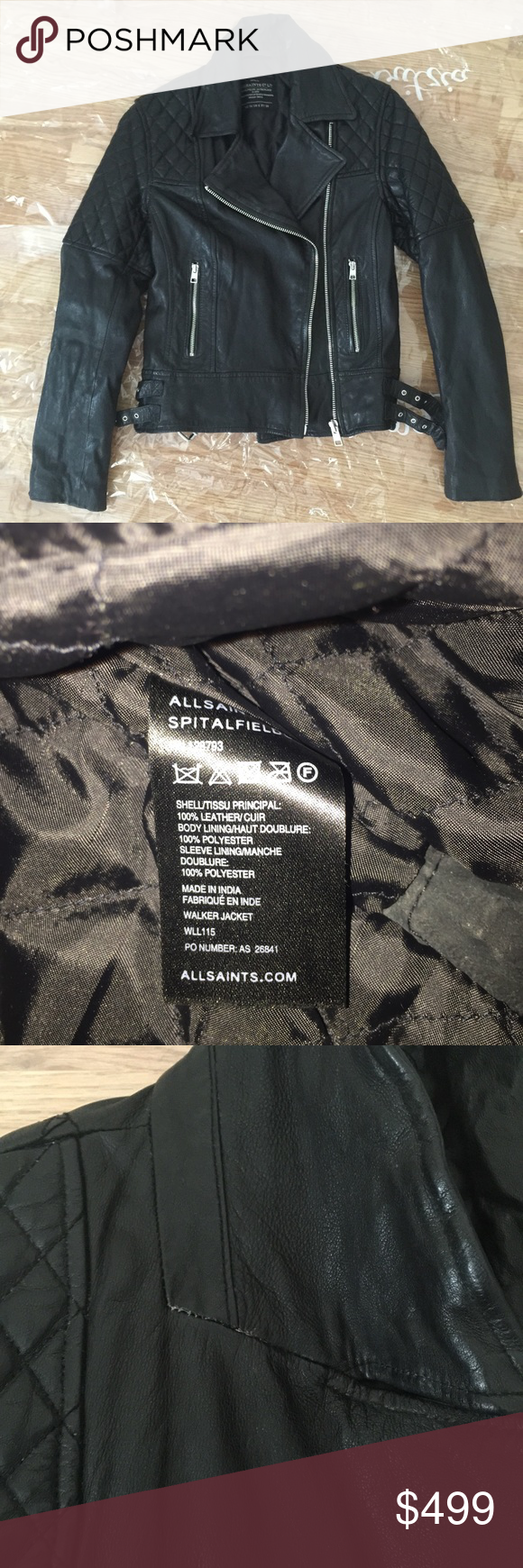 All Saints Spitalfields Walker Leather Jacket **Only wore