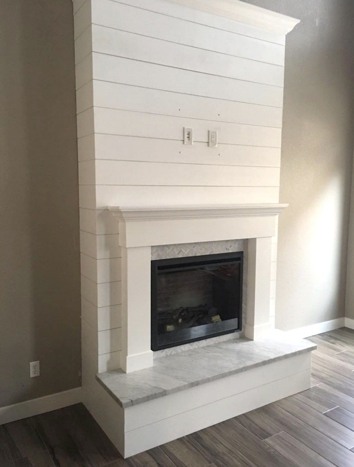 Fireplace Reveal- Our Electric Brick Fireplace #whitebrickfireplace