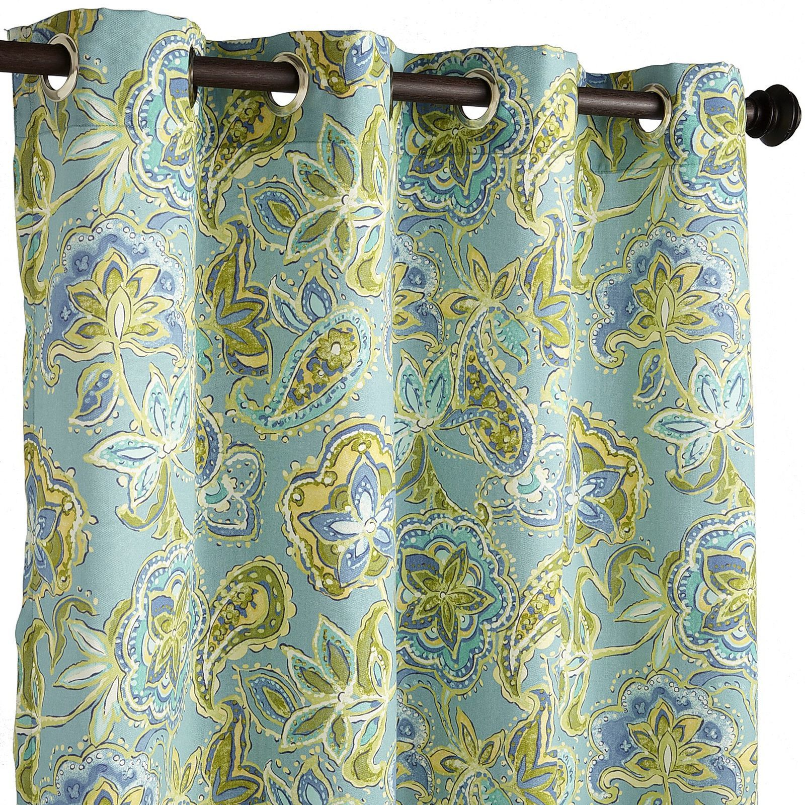 Think of the beach, with a definite summer vibe, and our Loftonaire Floral curtains come to mind. The opaque woven fabric, awash in an aqua, lime and blue floral print, is UV-treated and features rust-resistant, easy-install grommets. Hang them outside and you'll be kicking back in no time.