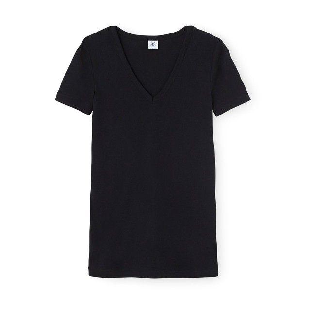 T-shirt femme col V en côte originale PETIT BATEAU   La Redoute Mobile