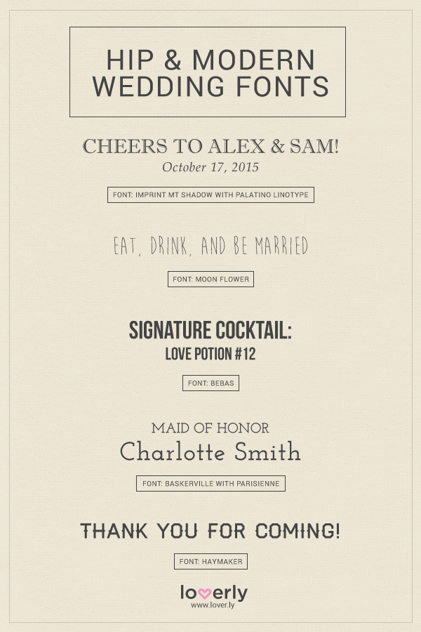 Wending Invitations Hip and Modern wedding fonts