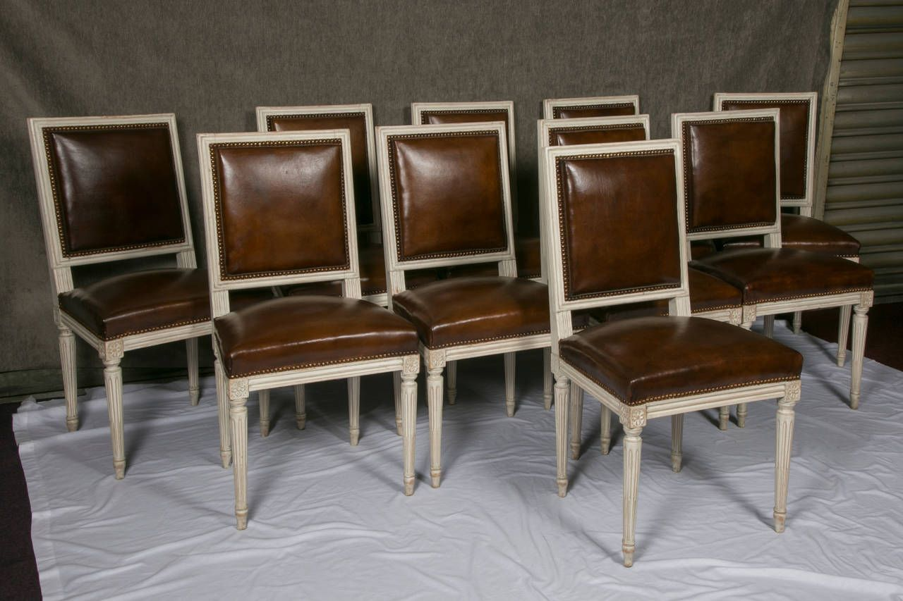 Set Of Ten French Louis XVI Style Leather Dining Chairs | 1stdibs.com