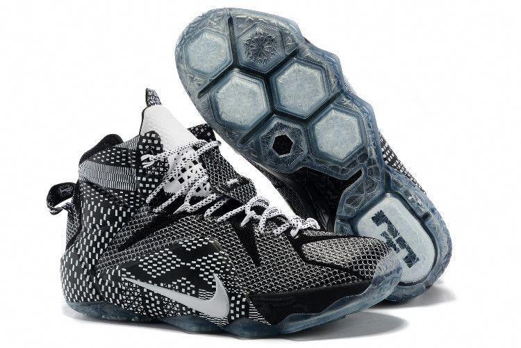 "newest 6800c a9e99 Nike LeBron 12 ""BHM"" Black White-Metallic Silver 718825-001"